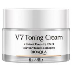 BioAqua V7 Toning Light корректирующая основа под макияж. Матирующий крем для лица тонизирующий эффект+7 витаминов